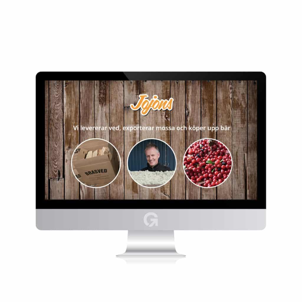 Jojons - en hemsida utvecklad och driftad av Webbyrå Mediamakarna Grip - Vi hjälper kunder över hela landet att synas med en professionell hemsida.