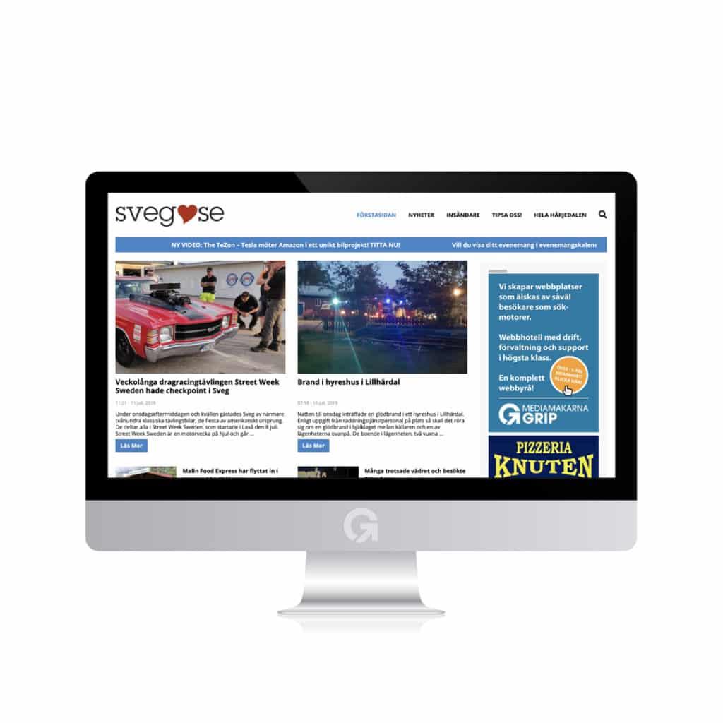 Sveg.se - en hemsida utvecklad och driftad av Webbyrå Mediamakarna Grip - Vi hjälper kunder över hela landet att synas med en professionell hemsida.