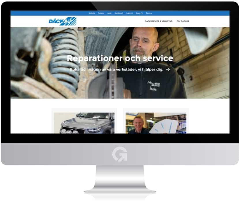 Däckab - en hemsida utvecklad och driftad av Webbyrå Mediamakarna Grip - Vi hjälper kunder över hela landet att synas med en professionell hemsida.