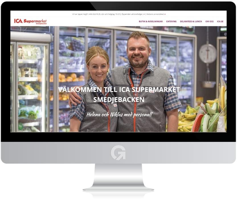 ICA Supermarket Smedjebacken - en hemsida utvecklad och driftad av Webbyrå Mediamakarna Grip - Vi hjälper kunder över hela landet att synas med en professionell hemsida.