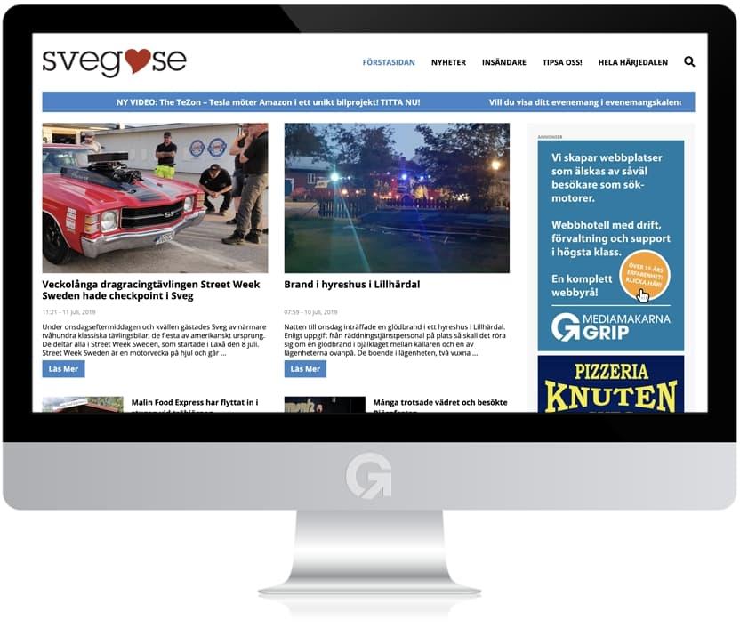 Sveg.se - en nyhetsportal utvecklad och driftad av Webbyrå Mediamakarna Grip - Vi hjälper kunder över hela landet att synas med en professionell hemsida.