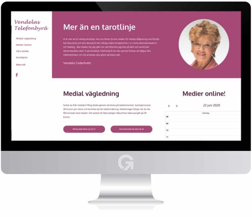 Vendelas Telefonbyrå - en hemsida utvecklad och driftad av Webbyrå Mediamakarna Grip - Vi hjälper kunder över hela landet att synas med en professionell hemsida.