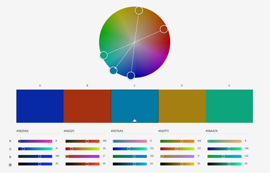 Välja färger för webben. Adobe Color är ett jättebra verktyg där du kan testa olika färgkombinationer.